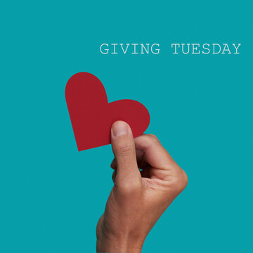 person giving a heart and text giving tuesday