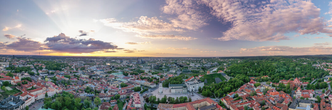 Vilnius Old Town with Cathedral Square in Background. Vilnius is Famous of Unesco Heritage Old Town Buildings. One of the most beautiful Baltic Countries