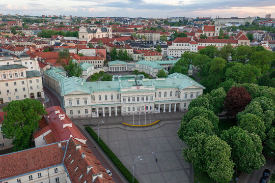 Vilnius Old Town and Presidential Palace in Background. Sightseeing Place