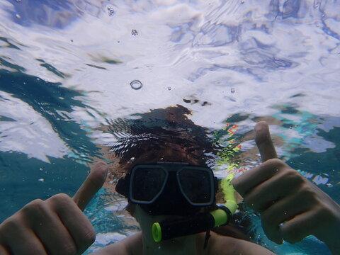 Close-up Of Man Wearing Scuba Mask Swimming