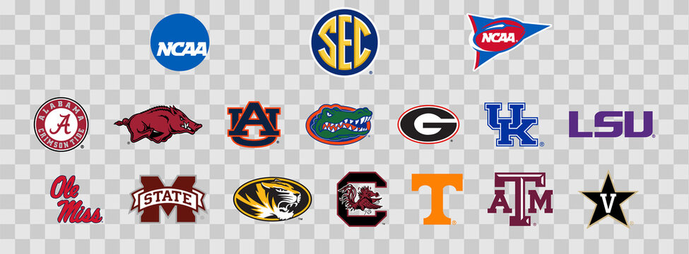 Logos of the SEC colleges of the NCAA. Scalable Vector image.