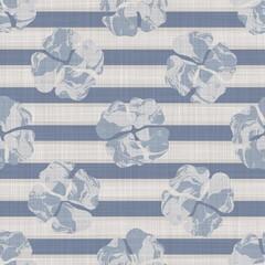 Fond de damassé floral imprimé en lin de ferme français sans couture. Texture motif lin gris bleu Provence. Arrière-plan flou tissé de style shabby chic. Imprimé textile rustique sur l& 39 ensemble