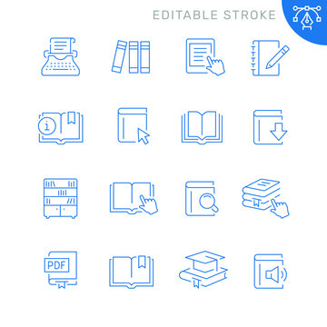 Book related icons. Editable stroke. Thin vector icon set