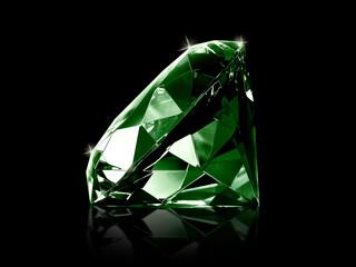 Dazzling diamond Green gemstones on black background