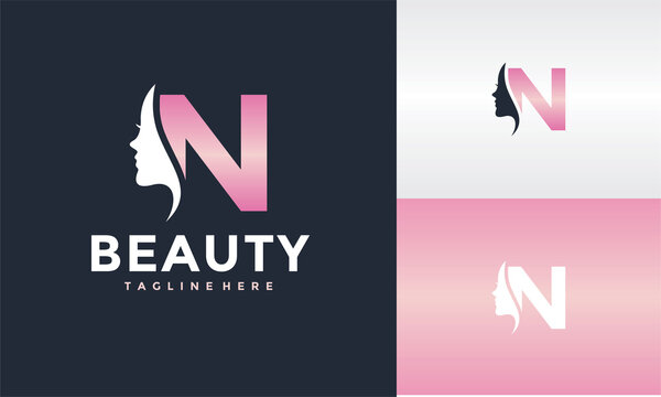 initial N beauty face logo