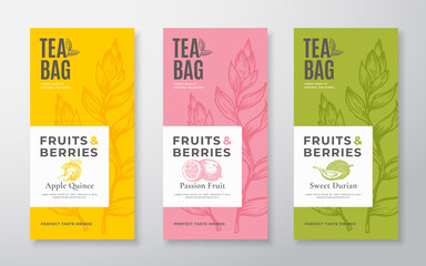 Exotic Fruits Tea Labels Set. Vector Packaging Design Layouts Bundle. Modern Typography, Hand Drawn Tea Leaves, Quince, Passion Fruit and Durian Silhouettes Background. Beverage Banners. Isolated