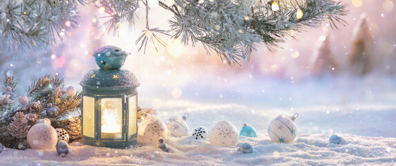 Fototapeta Christmas Lantern On Snow With Fir Branch In The Sunlight. Winter Decoration Background