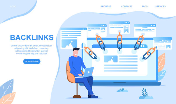 Backlinks or link building. SEO Search engine optimization abstract concept. Cartoon flat vector illustration for website, web page, landing page, mobile app and advertising