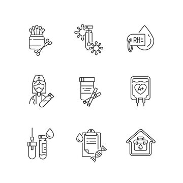 Medical diagnosis linear icons set. Clinical examination. Blood test. Polymerase chain reaction check. Customizable thin line contour symbols. Isolated vector outline illustrations. Editable stroke