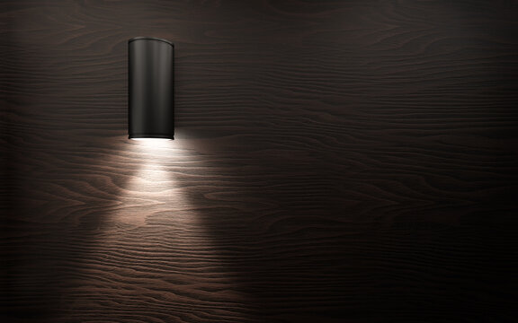 Modern wall lamp on wooden wall panel. 3d rendering