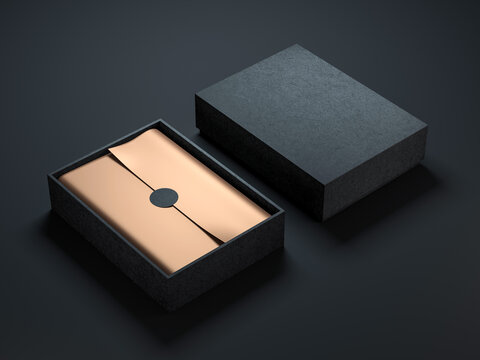 Two Black Boxes Mockup with golden wrapping paper, opened and closed on black background