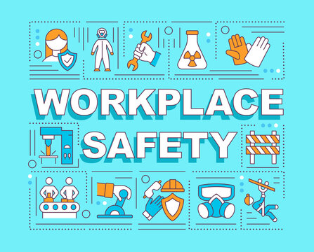 Workplace safety word concepts banner. Working environment. Employees wellbeing. Infographics with linear icons on turquoise background. Isolated typography. Vector outline RGB color illustration