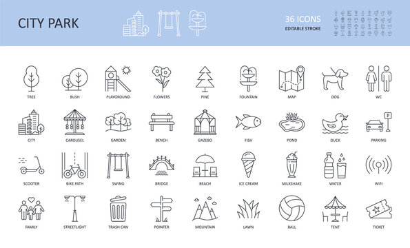 Vector city park icons set. Editable stroke. Tree fountain pond fish bush bench bridge garden pine playground flowers streetlight WC. Family mountain map ticket scooter lawn wifi ball umbrella parking