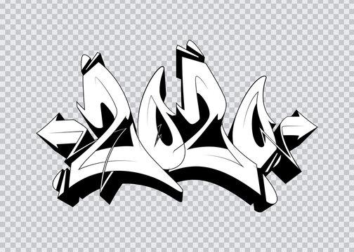 2020 graffiti lettering. Vector template for your design