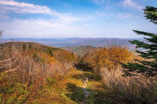 Hikers climb Mount Greylock in the Berkshires of Massachusetts