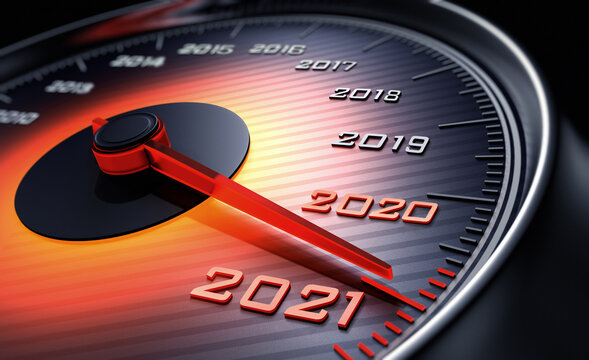 New Year Speedometer 2021. Inscription with years from 2012 to 2021. The conceptual speedometer indicates next year.