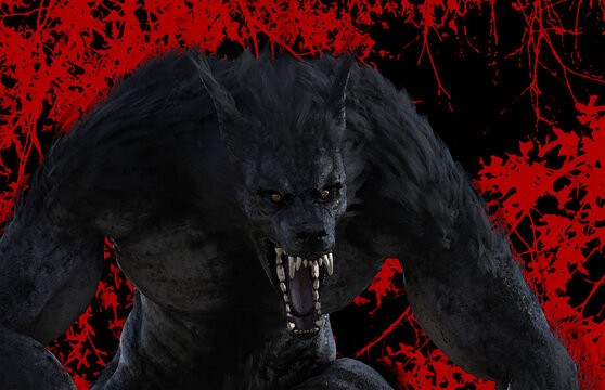 3d illustration of a werewolf/dog man snarling and lurking amongst trees