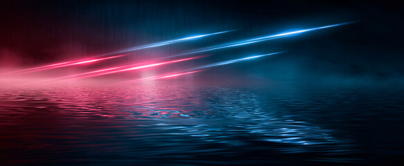 Neon futuristic landscape of a night street with neon light reflected in the water. Wet street, red and blue neon lights. Urban neon abstraction. Dark street wet asphalt reflections of rays. Fotomurales