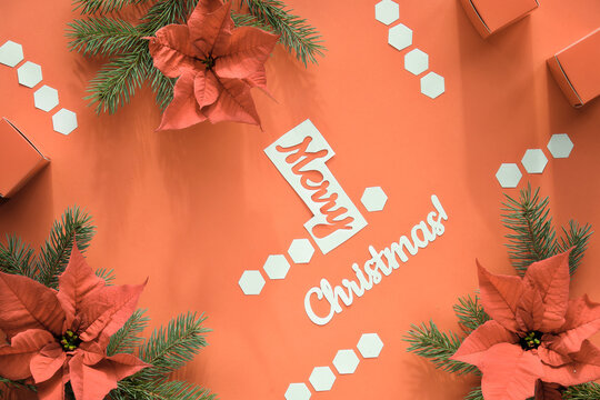 Poinsettia and fir twigs on orange paper, geometric hexagons. White text Merry Christmas.