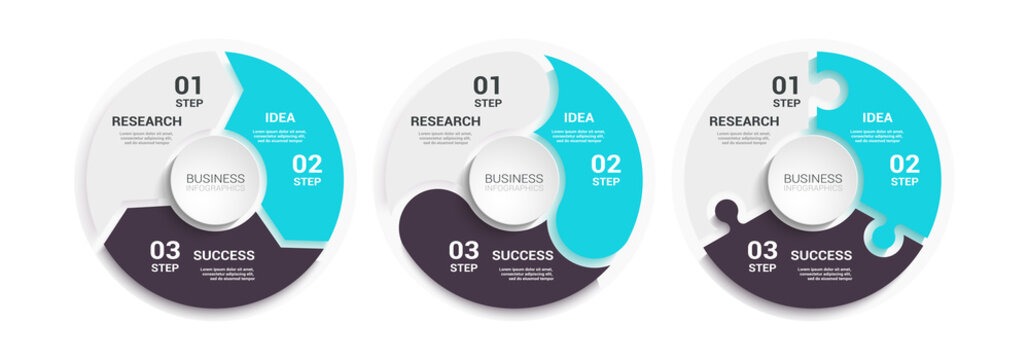 Modern Round Chart 3D Infographic Template with a Three Steps for Success. Business Circle Template with Options for Brochure, Diagram, Workflow, Timeline, Number Options. Vector EPS 10