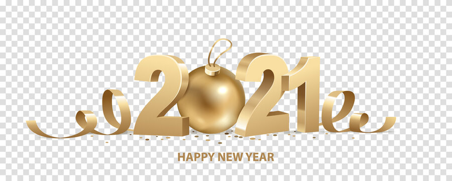 Happy New Year 2021. Golden 3D numbers with ribbons, Christmas ball and confetti, isolated on transparent background.