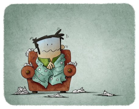 Sick man sitting in an armchair surrounded by tissues. Seasonal allergy. man shivering with cold