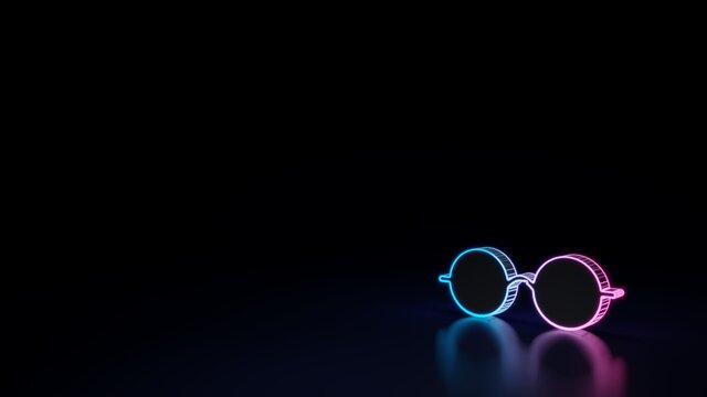 3d glowing neon symbol of symbol of round glasses isolated on black background