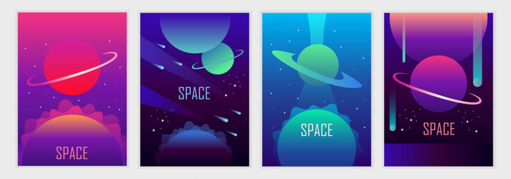 Set of abstract futuristic space backgrounds. Template for banner, poster, flyer, brochure, cover, card. Gradient, planets and stars. Vector illustration.