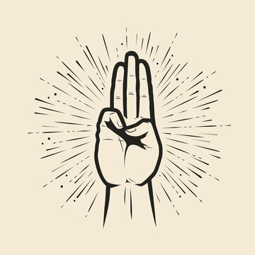 Scout symbol hand gesture. Scouting symbol vector illustration