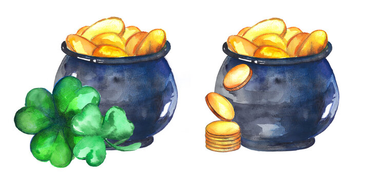 Several pots with leprechaun gold and four leaf clover isolated on white background. Watercolor illustration for st patrick's day. Decorative elements for the  holiday products design: cards, banners.