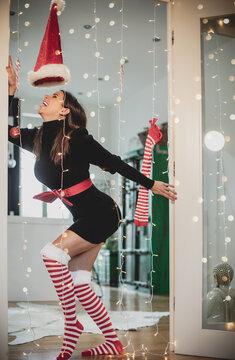 santa girl with christmas tree