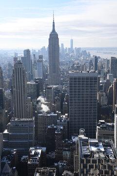 The Big Apple ist der Spitzname der US-amerikanischen Metropole New York. Zu sehen ist die Südspitze von Lower Manhattan, Down town mit dem  Fiancial District.