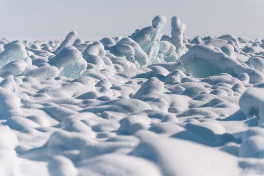 Baikal lake by winter in Siberia