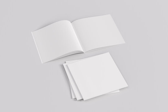 Stack of closed and open square magazine or brochure  mockup on white background