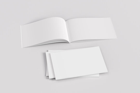 Stack of closed and open horizontal or landscape magazine or brochure  mockup on white background.