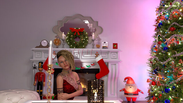 Beautiful young woman near the Christmas tree. Beautiful girl celebrates Christmas over the living room.