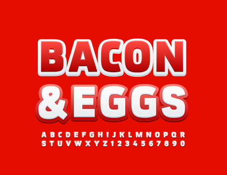 Vector bright template Bacon & Eggs. Red and White Uppercase Font. Modern Alphabet Letters and Numbers set
