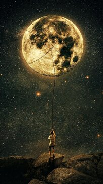 Digital Composite Image Of Man Holding Moon With Rope