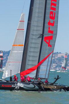 Catamaran team race during the america's cup world series