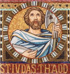 VIENNA, AUSTIRA - OCTOBER 22, 2020: The detail of apostle St. Jude Thaddeus from mosaic of Immaculate Conception in church Pfarrkirche Kaisermühlen.