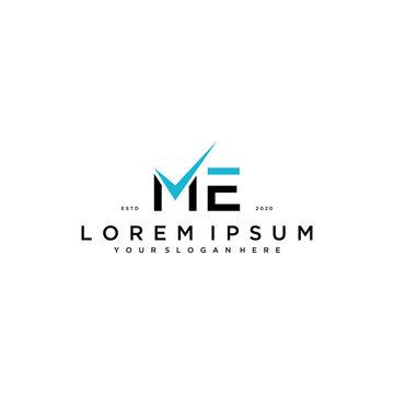 letter ME checklist logo design concept vector