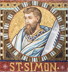 VIENNA, AUSTIRA - OCTOBER 22, 2020: The detail of apostle St. Simon from mosaic of Immaculate Conception in church Pfarrkirche Kaisermühlen.
