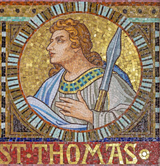 VIENNA, AUSTIRA - OCTOBER 22, 2020: The detail of apostle St. Thomas from mosaic of Immaculate Conception in church Pfarrkirche Kaisermühlen.