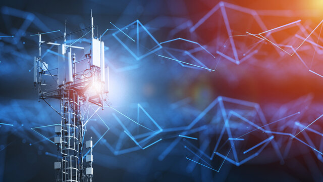 4G and 5G cellular telecommunication tower. Telecommunication equipment for a 5G radio network with radio modules and smart antennas installed