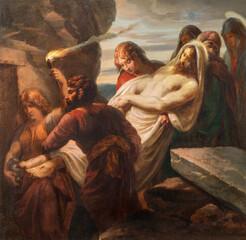 VIENNA, AUSTIRA - OCTOBER 22, 2020: The painting burial of Jesus in church St. Johann der Evangelist by Karl Geiger (1876).