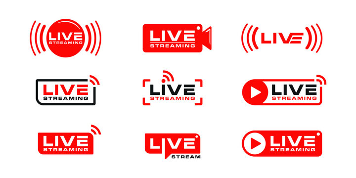 Set of live streaming logo icon bundle collection design template
