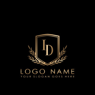 Elegant Initial Logo Letter ID, Initial Logo With Gold Shield Vector Template.
