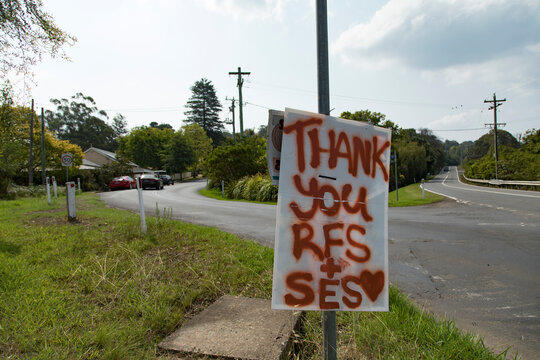 After the bushfire. Thank you RFS, SES signboard from residents.