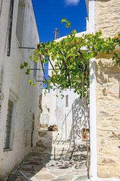 Narrow street with white Greek architecture in Lefkes village on Paros Island, Cyclades, Greece