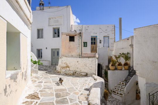 Traditional Greek architecture in Lefkes village on Paros Island, Cyclades, Greece